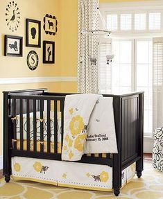 Mellow yellow contrasted with black and white is fabulous in this gender neutral nursery. Bee Nursery, Yellow Nursery, Nursery Crib, Baby Yellow, Nursery Neutral, Mellow Yellow, Yellow Black, Color Yellow, Nursery Colours