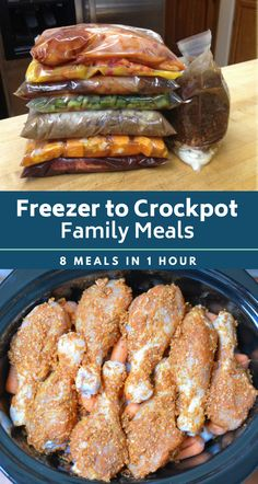 Freezer to Crockpot Family Meals. Prep 8 easy dinners in 1 hour. #crockpot #slowcooker #recipes #dinner #freezermeals #freezertocrockpot #mealprep