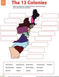 Name Game: The 13 Original Colonies Worksheet