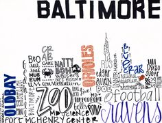 "baltimore skyline typography. ""crabcakes and football, that's what Maryland does."""