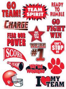 "red ""go team"" sports temporary tattoos with helmet, pawprint #sports #temporarytattoos"