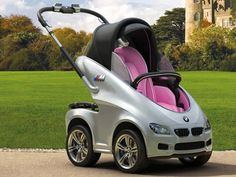 You are a family man, proud dad and want to impress all the moms in your neighborhood, take this luxury & comfortable BMW out for a ride!  It is 4WD and available in Princess Pink and Royal Blue.  It  has AC and shock proof hood with soft convertible top.  It is the latest innovation from BMW and is called BMW P.R.A.M. (Postnatal Royal Auto Mobile)...click on the image for more details.