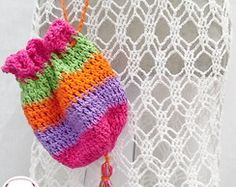 Bolsinha Crochet Colorida