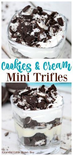 Try these super quick and easy Cookies and Cream Mini Trifles for a fun weeknight dinner or a simple dinner party dessert that everyone will love! easy 3 ingredients easy for a crowd easy healthy easy party easy quick easy simple Trifle Desserts, Dessert Cups, Mini Desserts, Dessert Trifles, Mini Dessert Recipes, Sweets Recipes, Desert Recipes, Chocolate Desserts, Dessert Table