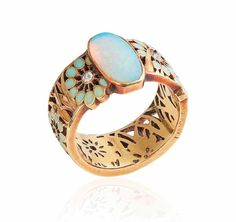 Art Nouveau Opal Enamel and Diamond Ring c Rene Lalique Set with an oval cabochon opal, to the textured gold, enamel and diamond foliate band ring, mounted in gold, signed Lalique. Lalique Jewelry, Opal Jewelry, Jewelry Art, Gold Jewelry, Vintage Jewelry, Jewelry Accessories, Fine Jewelry, Jewelry Design, Jewlery