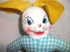 Vintage 1950's soft body bunny rabbit doll with vinyl plastic mask type face.