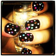 Rainbow polka dot nails - easy as pie! did them last night in less than 30 minutes. #NOTD