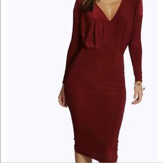 NWOT burgundy midi dress This is so flattering, hugs all your curves just right. I bought it for an event but I went with another dress. Make me offers! I will upload more pictures tonight. UK size 10 US size 6. Top is a little looser than bottom half of dress. Dresses Midi