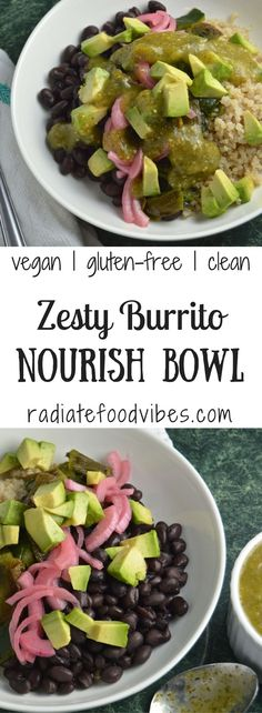 A healthy and clean eating lifestyle is easy with recipes like this vegan Burrito Nourish Bowl. Great for weight-loss or for gluten-free, vegetarian and vegan diets. Get the recipe at radiatefoodvibes.com!