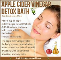 Detox bath apple cider vinegar (also use with epsom salt, baking soda, and ground ginger)
