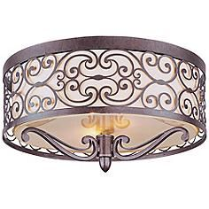 Mondrian Bronze Flushmount 2-Light Ceiling Fixture