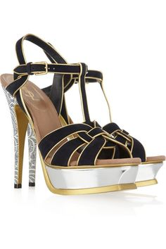 Yves Saint Laurent Tribute suede and metallic sandals Fall/Winter 2011/2012