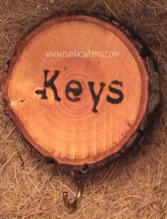 Wood slice key hook Rustic Whims How cute is this!??