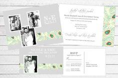 Peacock Wedding Invitation & RSVP Set by WritefullySimple on Etsy, $75.00
