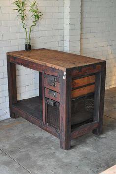 vintage industrial kitchen island bench