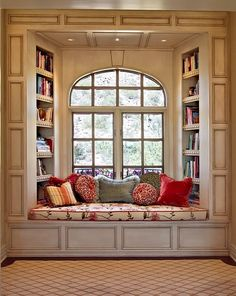 Window seat with with built-in bookshelves