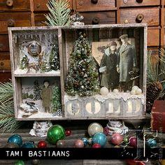 Christmas Shadow Boxes, Diy Christmas Garland, Christmas Paper Crafts, Retro Christmas, Holiday Crafts, Christmas Time, Christmas Decorations, Christmas Ideas, White Christmas