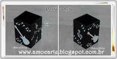 Peça organizadora - Porta caneta com detalhe em relevo - mdf madeira http://www.amocarte.blogspot.com.br/
