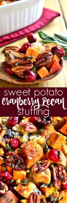 A whole new take on stuffing! This Sweet Potato Cranberry Pecan Stuffing is a little bit sweet, a little bit savory, and the perfect addition to your Thanksgiving or Christmas table! #tastetruvia @TruviaBrand #ad