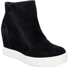 Steve Madden Women's Lazaruss Wedge Sneakers ($89) ❤ liked on Polyvore featuring shoes, sneakers, black suede, steve madden sneakers, wedged sneakers, hidden wedge sneakers, suede sneakers and black hidden wedge sneakers