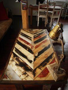 industrial vintage rustic handmade steel & pine coffee table