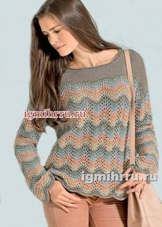 Pullover in pastel shades, with a wavy pattern . - Natacha Beigbeder - - Pullover in pastel shades, with a wavy pattern . Crochet Flower Patterns, Knit Patterns, Knitting Blogs, Hand Knitting, Crochet Blouse, Knit Crochet, Crochet Clothes, Pulls, Knitwear