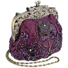 Vintage Style Antique Beaded Rose Evening Handbag, Clasp Purse Clutch... ($30) ❤ liked on Polyvore featuring bags, handbags, clutches, beaded evening bags, rose evening bag, purple handbags, purple evening bag and antique evening bags