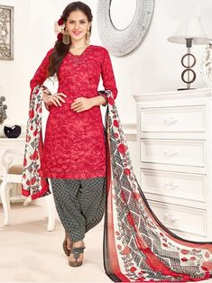 Polished black, white and red casual wear glaze cotton patiyala salwar suit. Having fabric glaze cotton, cotton and nazneen. You can see some fascinating patterns done with print work. Comes with matching bottom and dupatta.#mydesiwear #onlineshop #salwarsuits #womenstyle #womenfashion  #festivewear #partywear #fashion #ethnicwear #ceremonywear  #weddingfashion #weddingseason #indianwedding #weddingbeauty  #weddingsuits #cotton #weddingfestival #WeddingTrends #stylewedding  #designersuits
