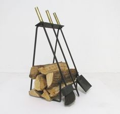 Mid-Century Modern Fireplace Tools with Log Holder, circa 1960s image 2