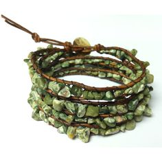 Green Leather Wrap Bracelet with RHYOLITE Chan Luu Semi Precious Cuff... ($90) ❤ liked on Polyvore featuring jewelry, bracelets, hinged cuff bracelet, leather bangles, wrap jewelry, leather wrap bracelet and semi precious jewellery