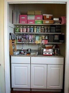 Room Inspiration: Closet space - idea by http://mycraftroom.typepad.com/marias_craft_room/craft-room-pictures/