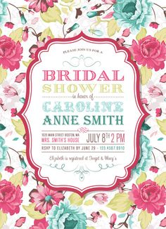 Printable Bridal Shower Invitation - Vintage Floral Typography Poster Design. $15.00, via Etsy.