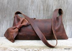 Distressed Brown Leather Long Bow Bag by Stacy Leigh