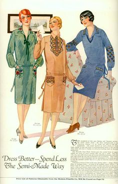 Simple embroidered 'sports frocks', as shown on this page from a 1927 copy of Modern Priscilla magazine, were extremely popular for spring and summer wear in the late 1920s.