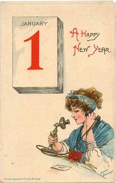 Vintage New Year Postcard by Fances Brundage, ca. 1910s