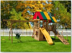 Kids outside play area backyard fun for with wooden material and swing also outdoor ideas playground . view in gallery backyard play area ideas Playground Set, Playground Design, Backyard Playground, Swing Sets For Kids, Kids Swing, Landscaping On A Hill, Small Backyard Landscaping, Landscaping Ideas, Backyard Ideas For Small Yards