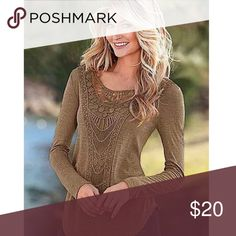 🍁On Sale-Brown Crochet Knitted Long Sleeve Top Brown Crochet Knitted Long Sleeve Top.  Lg & XL🍁ON SALE- Knitted  Long Sleeve Slim Style Knitwear Top.  Sleeve Length(cm) Full, Item Type Pullovers, Sleeve Style Regular, Material:Cotton & Polyester, Collar O-Neck, semi-Thin. dimensions in CM.  Please know your size in CM for comparison. Large: 86 Bust, 38. Shoulder, 59 Sleeve, 68 Length. Large fits as US Small. XL Dimensions: 90. Bust, 39. Shoulder, 61. Sleeve, 70. Length.  XL fits as US…