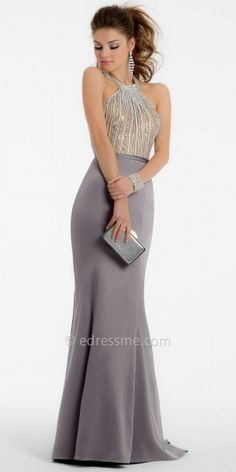 Crystal Beaded Mermaid Satin Prom Dresses by La Femme Ball Dresses, Evening Dresses, Bridesmaid Dresses, Prom Dresses, Formal Dresses, Fancy Gowns, Western Wear, Dress Collection, Pretty Dresses