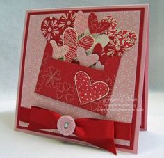 Valentine envelope with hearts coming out!  Cute!