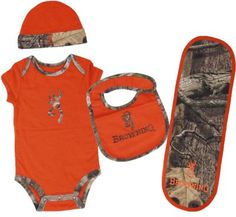 Browning& Baby Infants' Four-Piece Camo Set at Cabela's Pink Camo Baby, Camo Baby Stuff, Little Babies, Cute Babies, Baby Boy Outfits, Kids Outfits, Cute Baby Clothes, Babies Clothes, Baby Time