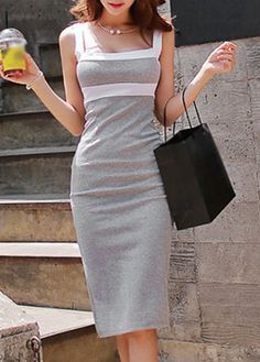 Fashion Strap Design Open Back Knee Length Dress on Luulla