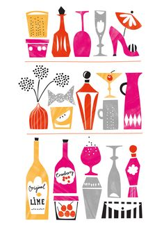Above a drink cart?  Darling Clementine - Illustration - Agent Molly & Co