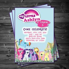 My Little Pony Birthday Party - Printable Custom Invitation by KatiePaigeDesign omg! this is perfect! My Little Pony Birthday Party, 5th Birthday Party Ideas, Birthday Fun, Invitaciones My Little Pony, Owl Themed Parties, My Little Pony Princess, Friend Crafts, Bday Girl, Diy Party Decorations