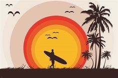 surfer tropical beach VINTAGE ART POSTER palm trees SURF BOARD birds 24X36 Brand New. 24x36 inches. Will ship in a tube. - Multiple item purchases are combined the next day and get a discount for dome