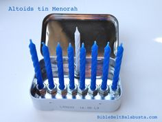 Nine hexnuts glued inside an empty Altoids tin = Travel Menorah. Or, a Curiously Tiny Menorah. You can't get much easier. Or smaller for that matter. (EDIT: see smaller one here. Feliz Hanukkah, Hanukkah Crafts, Jewish Crafts, Hanukkah Decorations, Hanukkah Menorah, Hannukah, Happy Hanukkah, Holiday Crafts, Holiday Fun