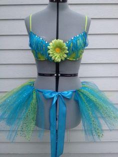 Teal Blue and Bright Green Rave Bra / EDC Bra / Costume Bra w/ Matching Wrap Around Tie Tutu on Etsy, $65.00