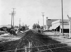 - View of Canal (now Avalon Blvd.) and Streets in Wilmington. John's Episcopal Church is seen on the right. A railroad track cuts across the foreground. Wilmington California, San Luis Obispo County, Episcopal Church, Back In Time, St John's, Wonderful Places, San Diego, High School, Hobbies