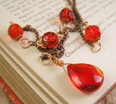 Red glass with copper chain necklace. Victorian style handmade jewelry by TheAmethystDragonfly