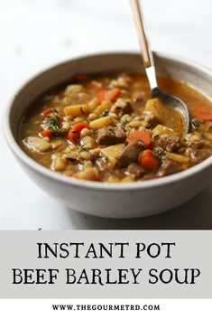 Instant Pot Beef Barley Soup: Easy beef barley soup with vegetables that's healthy and delicious! Includes instructions for making it on the stove top as well.