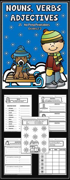 Nouns, Verbs and Adjectives - 25 winter themed no prep printables - grades 2-3